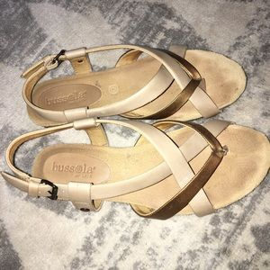 Bussola Tan Gold Strappy Sandals Size 7